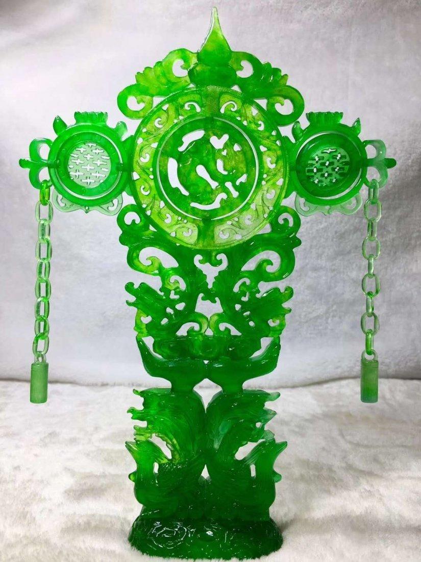 Emerald jade dragon and phoenix ornaments - 3