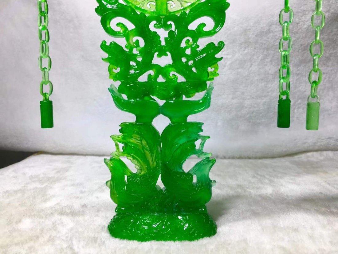 Emerald jade dragon and phoenix ornaments - 4
