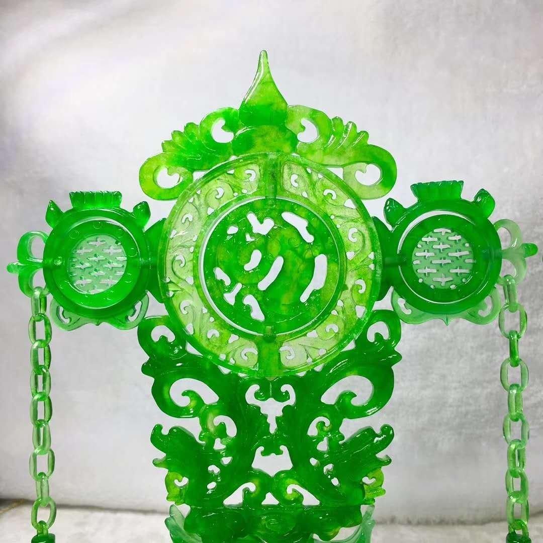 Emerald jade dragon and phoenix ornaments - 6
