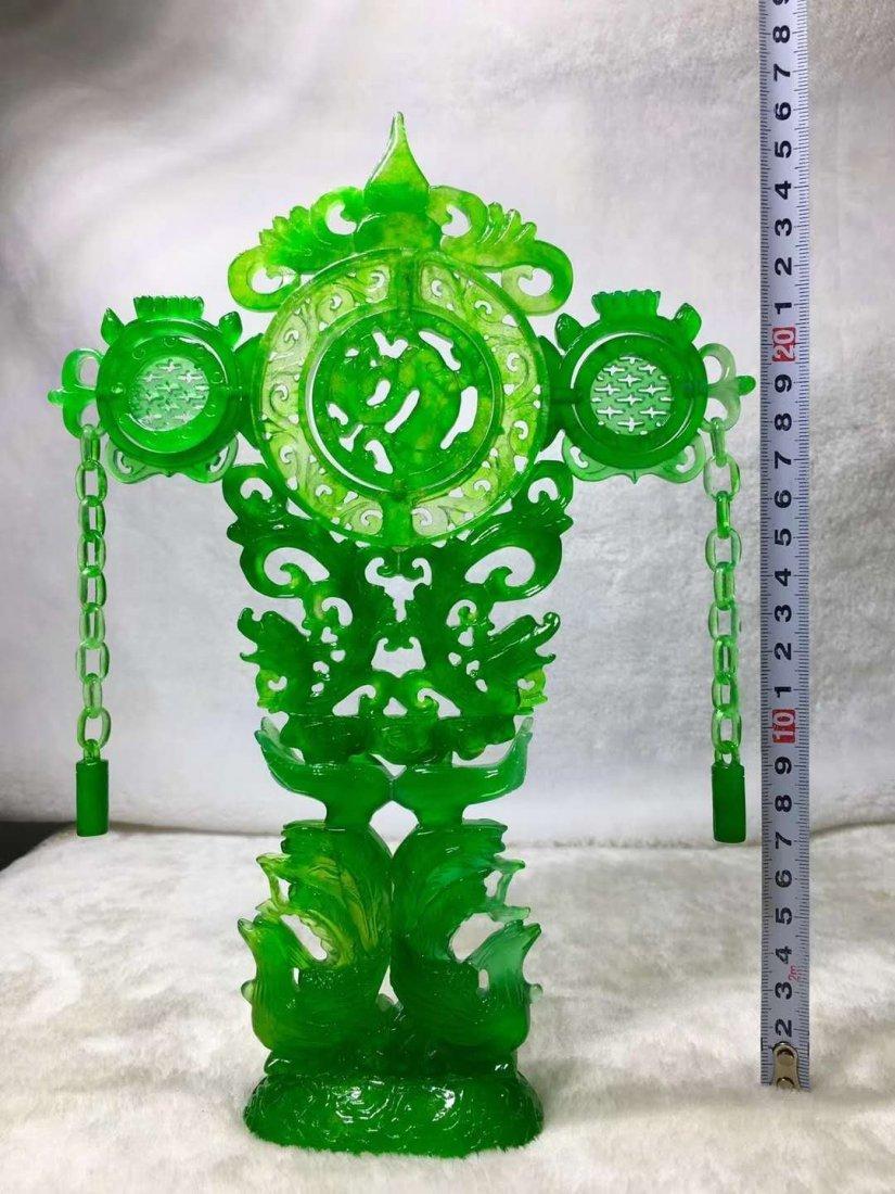 Emerald jade dragon and phoenix ornaments - 7