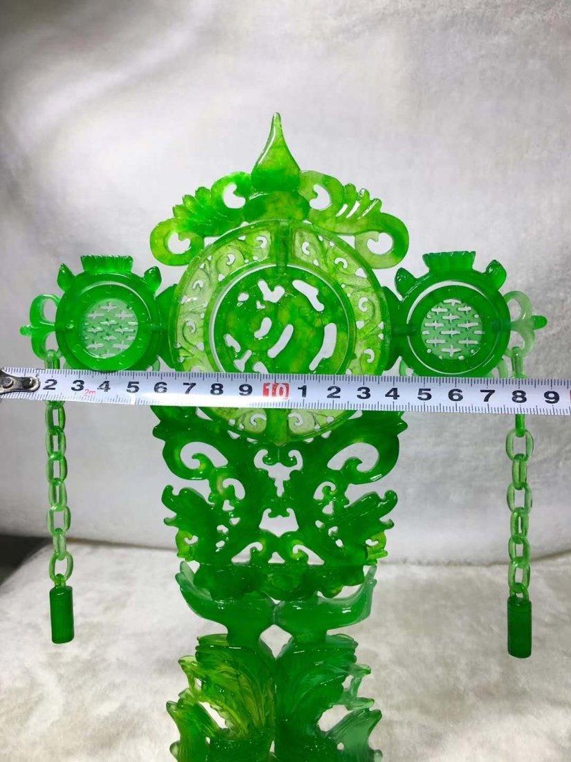 Emerald jade dragon and phoenix ornaments - 8