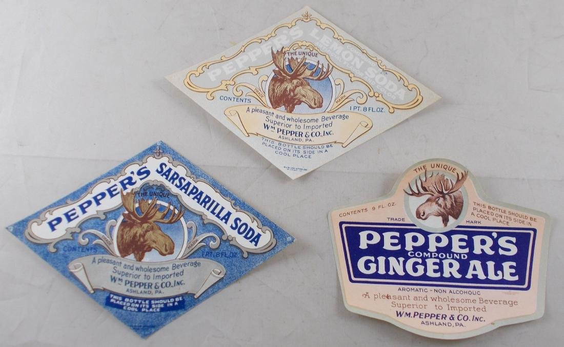 Group of 3 Different Very Old Pepper's Soda Labels with