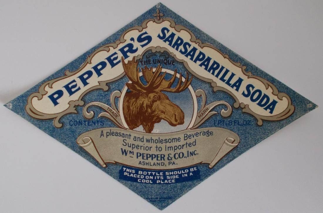 Group of 3 Different Very Old Pepper's Soda Labels with - 3