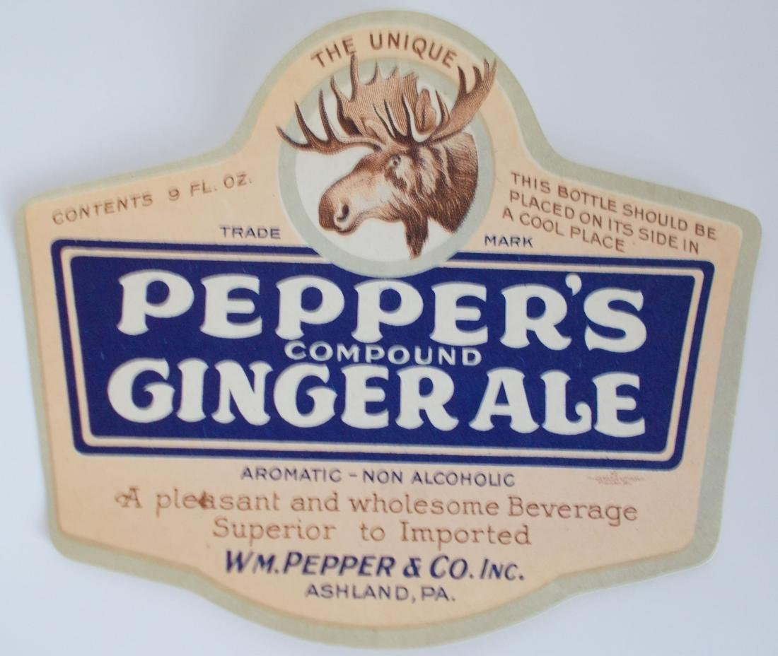 Group of 3 Different Very Old Pepper's Soda Labels with - 4