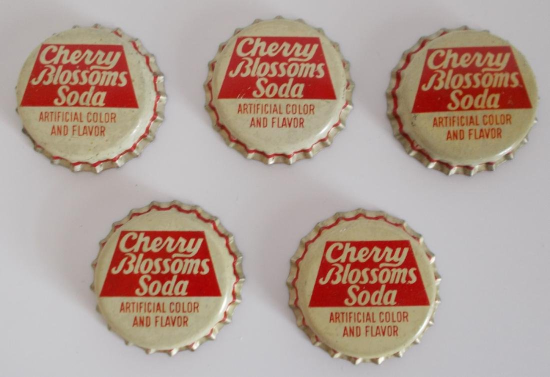 Lot of 5 Unused Cork Lined Cherry Blossoms Soda Bottle