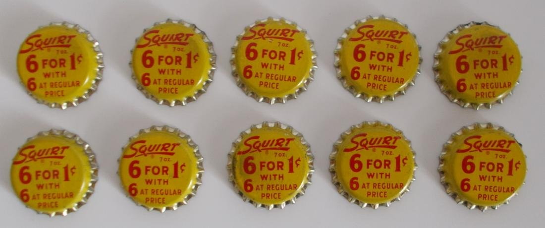 Lot of 10 Unused Cork Lined Squirt 6 for 1¢ Soda Bottle