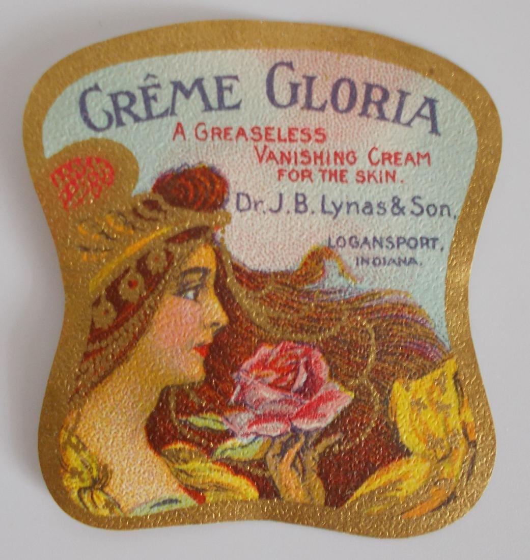 Early Lynas Creme Gloria Milk Glass Jar Label c.1900