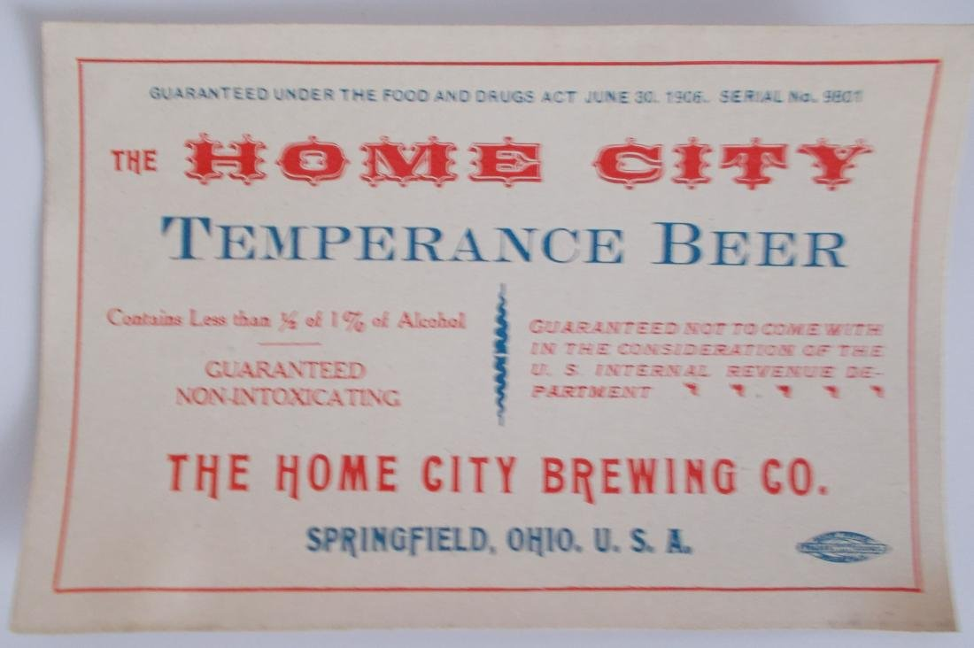 Very Old and Unusual Home City Temperance Beer Label