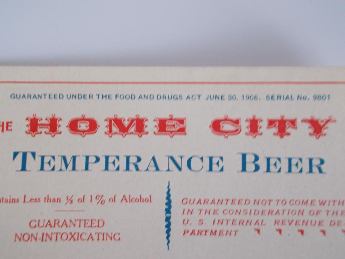 Very Old and Unusual Home City Temperance Beer Label - 2