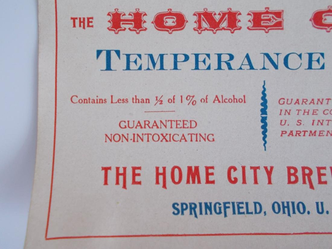 Very Old and Unusual Home City Temperance Beer Label - 3
