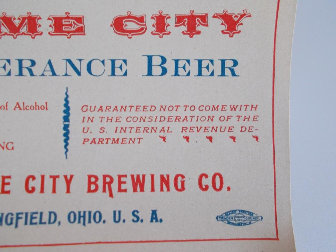 Very Old and Unusual Home City Temperance Beer Label - 4