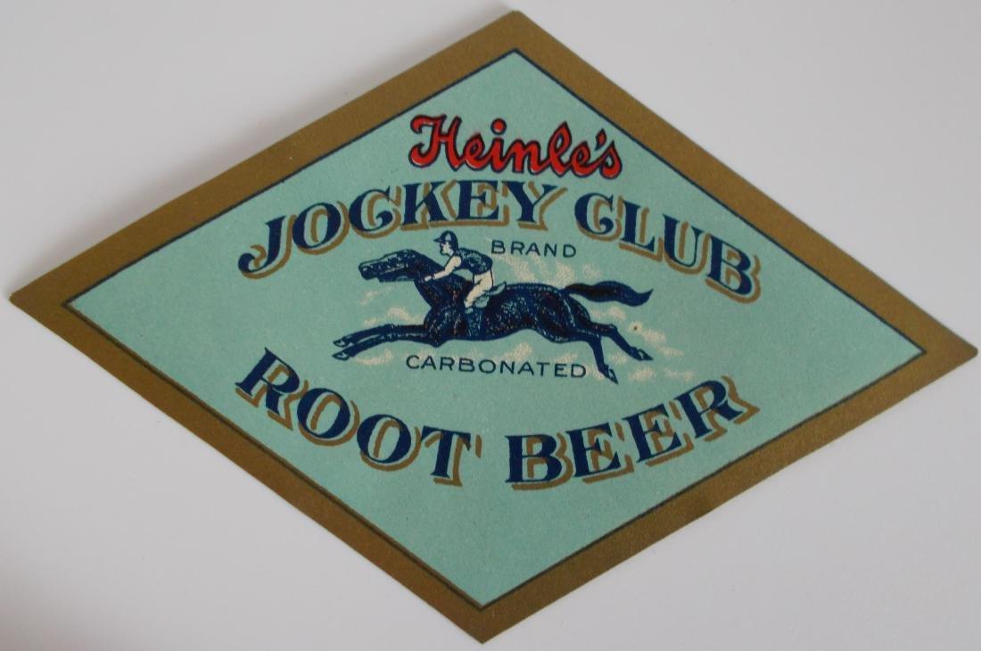 Rare Heinle's Jockey Club Carbonated Root Beer Label