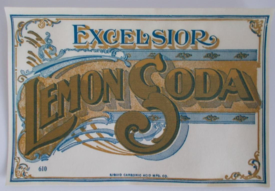 Excelsior Lemon Soda Hutchinson Bottle Label – c.1900 –