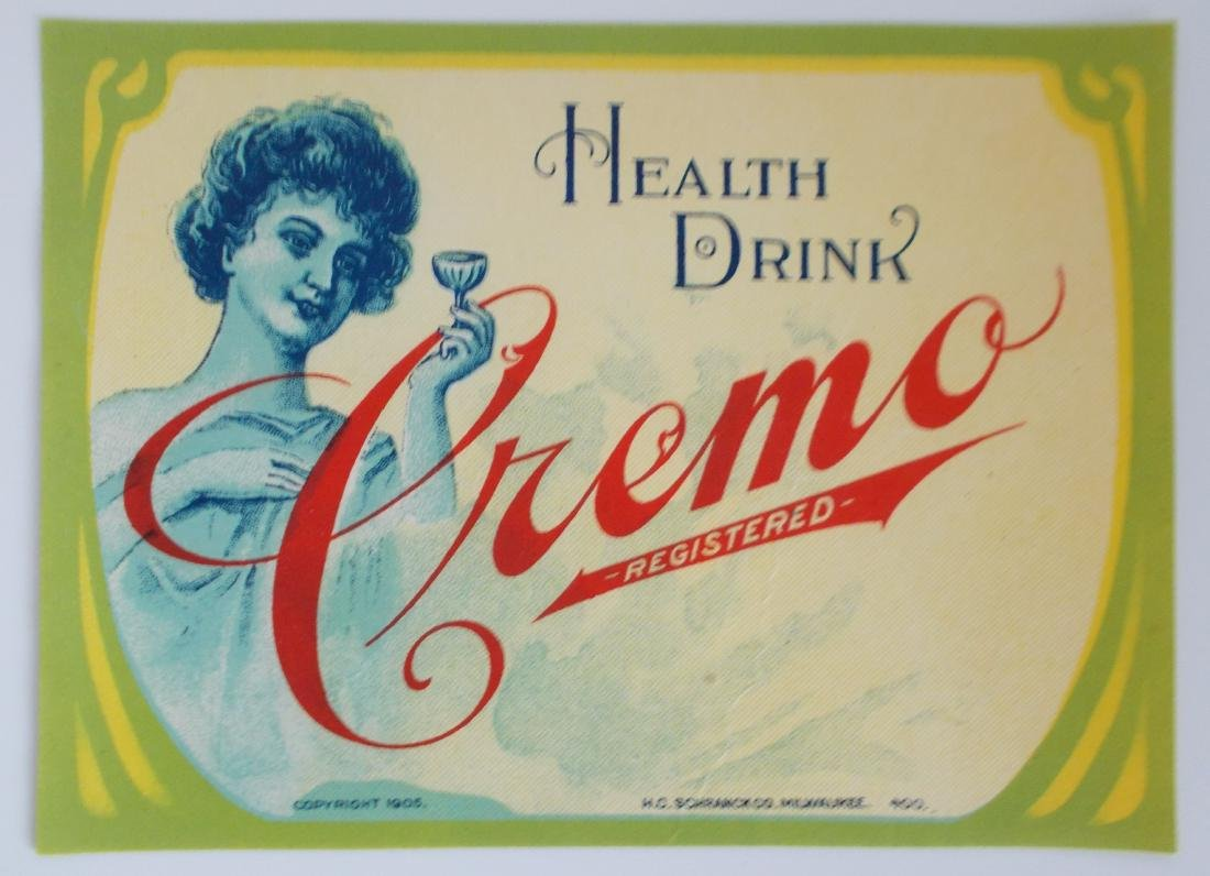 Early Cremo Health Drink Bottle Label c.1905 - Unused
