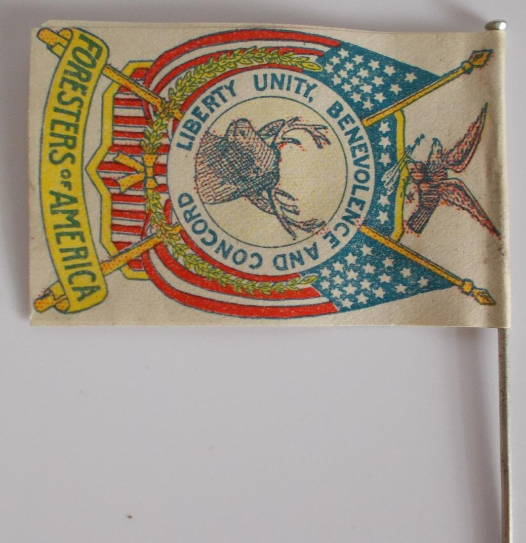 Very Rare Early Foresters of America Paper Flag on Pin - 2