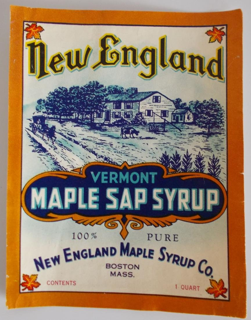 New England Vermont Maple Sap Syrup Label c1910's