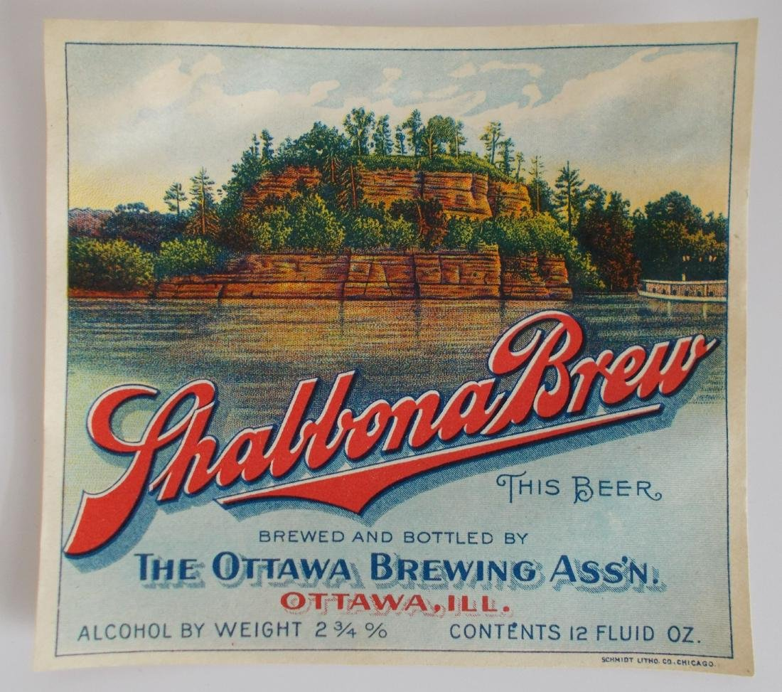 Rare Early Shabbona Brew Beer Bottle Label c.1910's