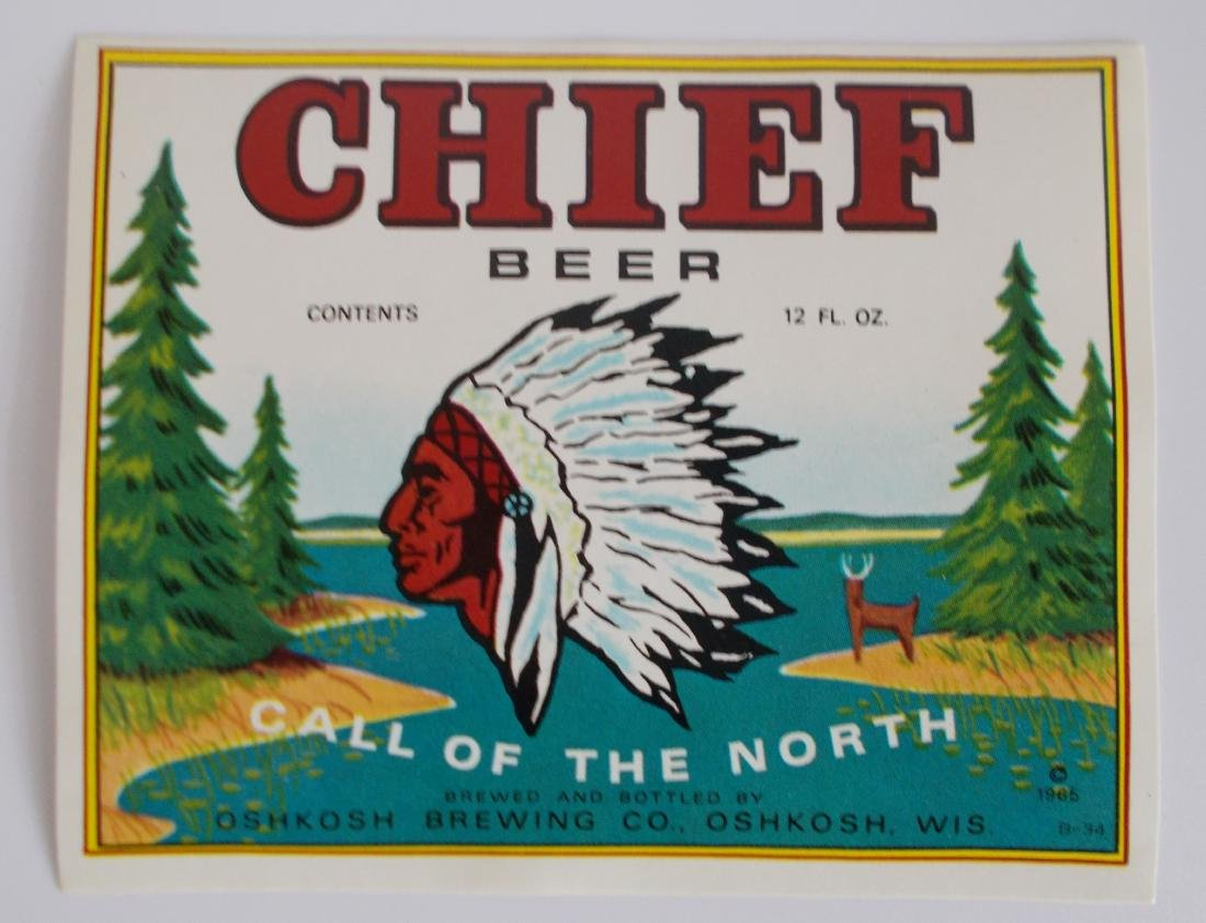 Chief Beer Bottle Label - Picturing Chief Oskosh.