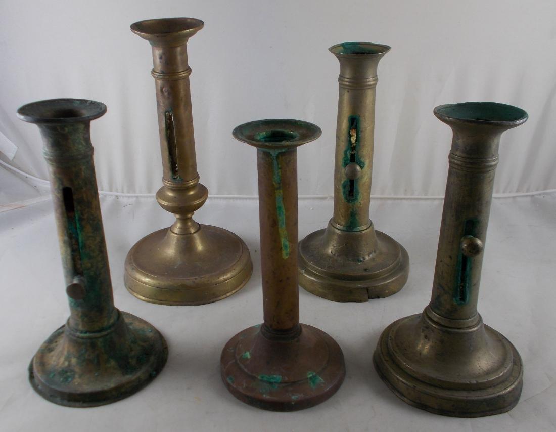 Lot of 5 antique hogscraper candlesticks