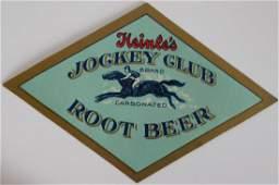 Rare Heinles Jockey Club Carbonated Root Beer Label