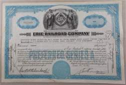 Stock Certificate from the Erie Railroad Company
