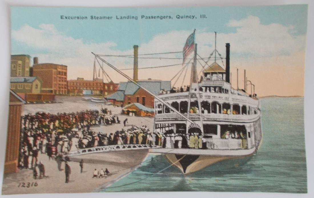 Unused Excursion Steamboat Postcard Quincy, Ill. 1910's