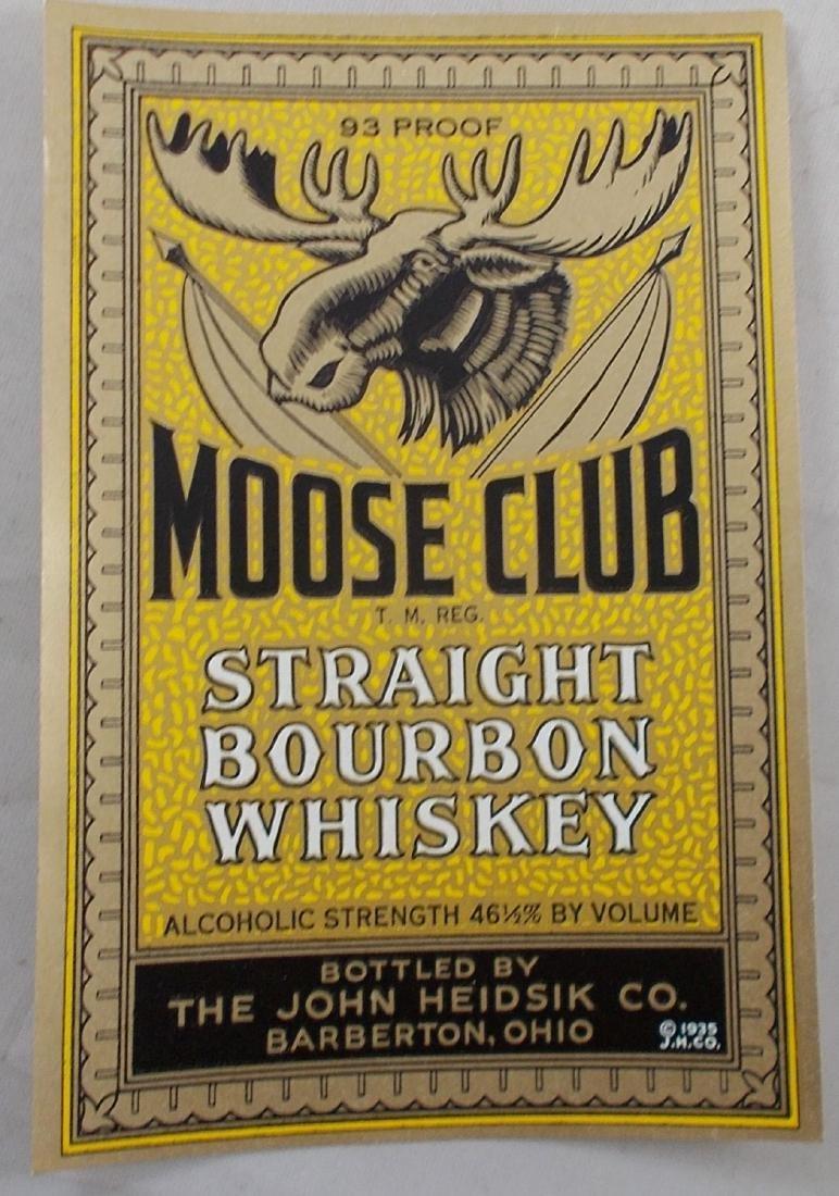 Large rare Moose Club Whiskey label