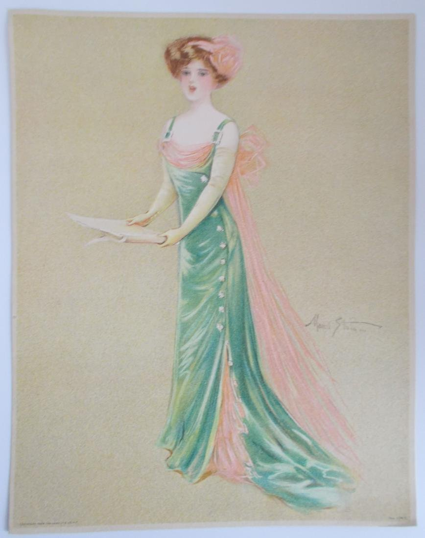 Antique 1909 Maud Strumm Victorian Stone Litho Print
