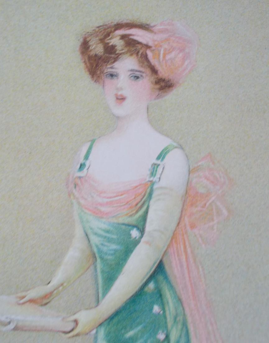 Antique 1909 Maud Strumm Victorian Stone Litho Print - 2