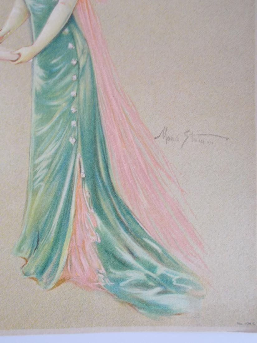 Antique 1909 Maud Strumm Victorian Stone Litho Print - 3