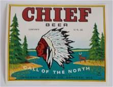Chief Beer Bottle Label  Picturing Chief Oskosh