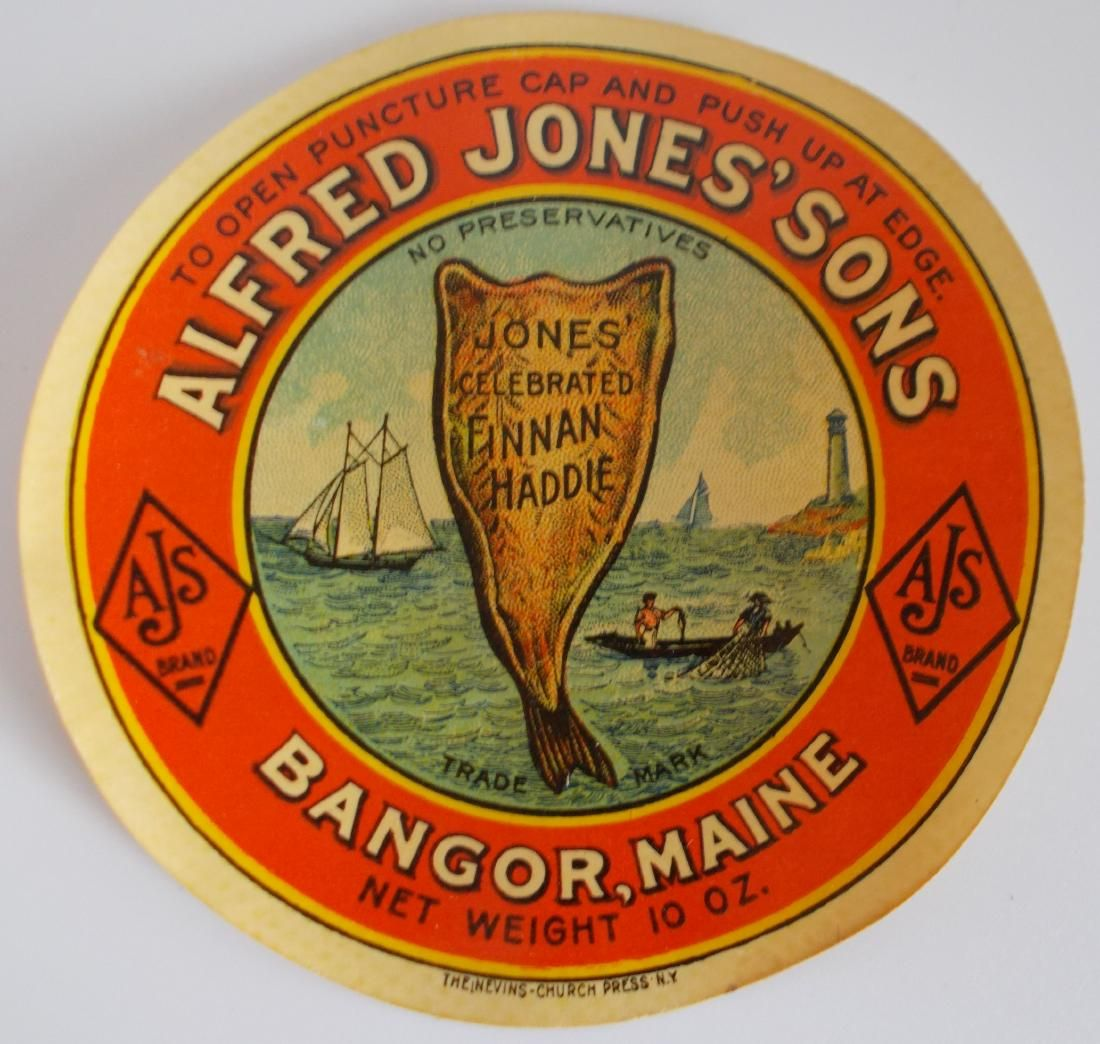 Alfred Jones' Sons Celebrated Finan Haddie Jar Label -