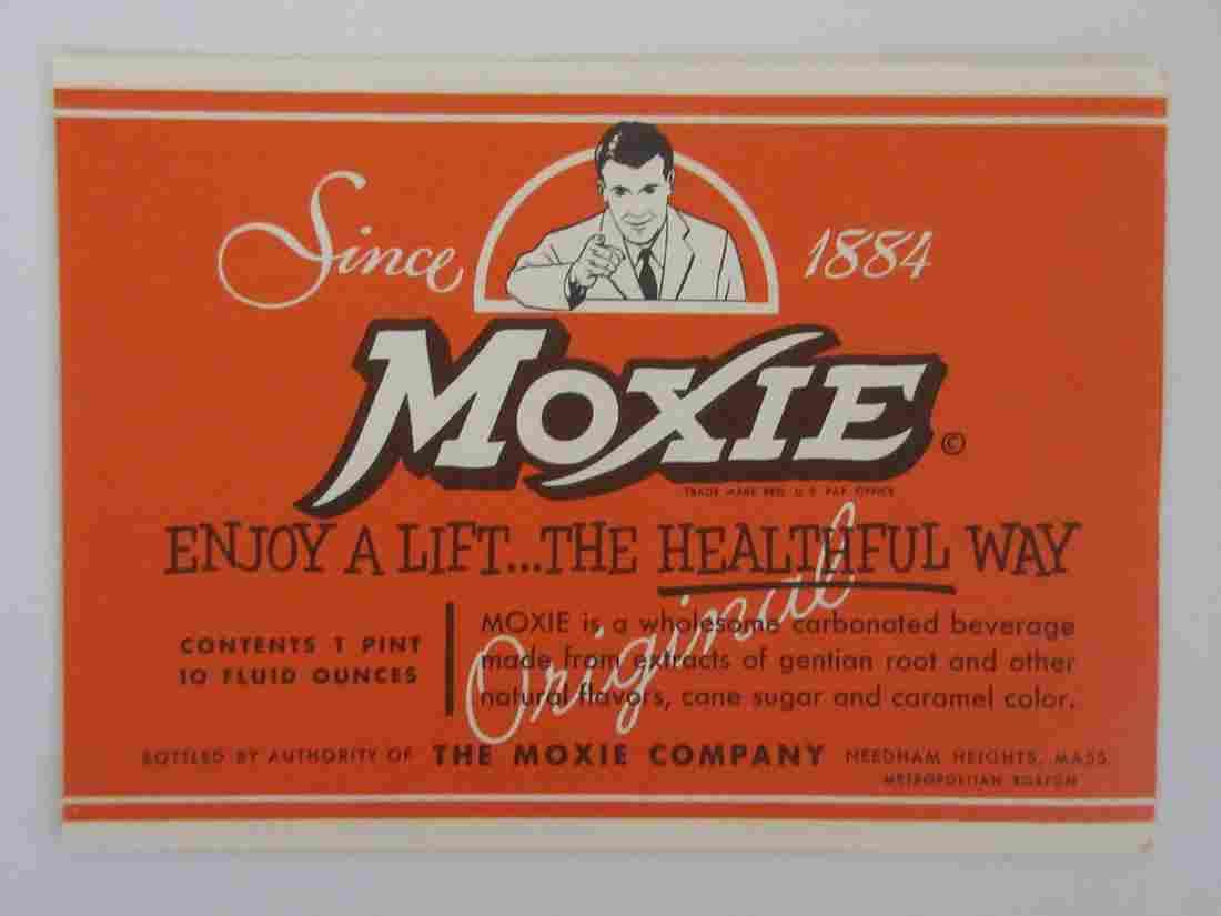 "Vintage 5 1/4"" wide Moxie 1 pint 10 ounce bottle label."
