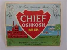 Chief Oshkosh Beer Bottle Label c1962
