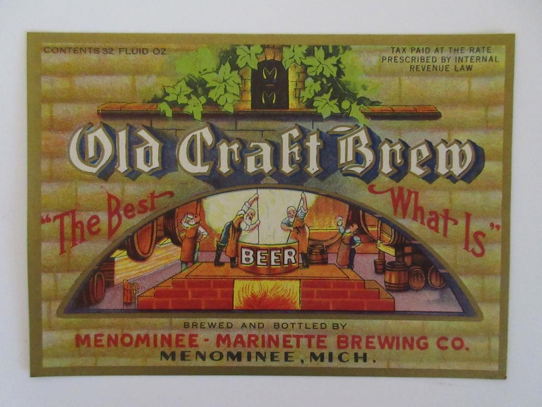 Large Beautiful Old Craft Brew Beer Bottle Label –