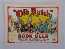 """4"""" Old Dutch Brand Bock Beer Bottle Label - Findlay,"""