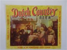 Dutch Country Beer Bottle Label. c.1960's