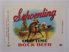 Schoenling Old Time Bock Beer Label. c.1960's