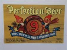Perfection Beer Label. c.1960's