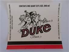 Vintage Duke beer labels c1960s 4