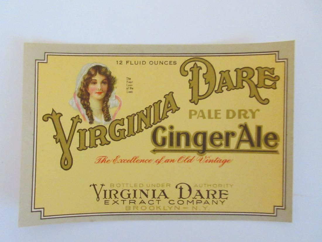 Early Virginia Dare Extract Company Ginger Ale Label.