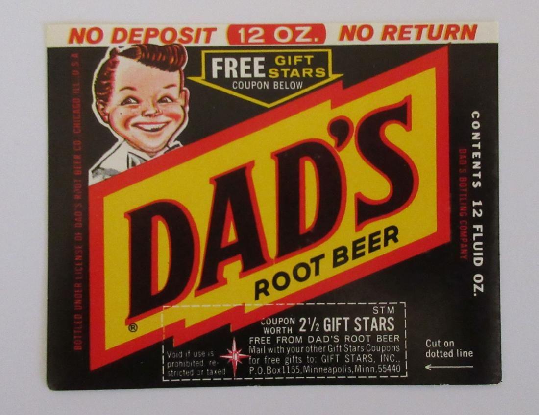 """Vintage 3 1/2"""" wide c.1960s Dad's Root Beer label"""
