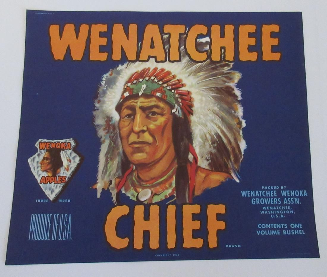 """Large 10"""" Wenatchee Chief Crate Label colorful vintage"""