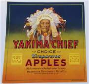 Yakima Chief Apple Crate Label c1930s Very detailed