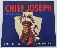 Chief Joseph Apple Crate Label c1940s Found at the