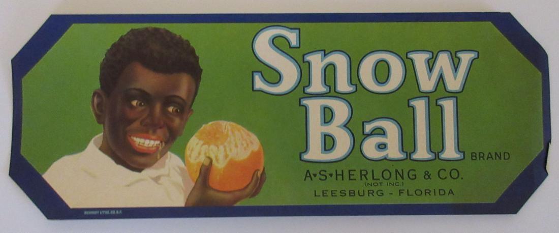"Snow Ball Brand Orange Crate Label. c.1930s. 9-1/8"""