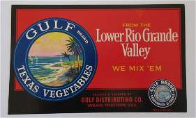 Gulf Brand Texas Vegetables Crate Label c1960s