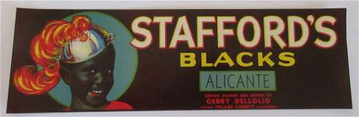 Staffords Blacks Grape Crate Label 1314 c1930s
