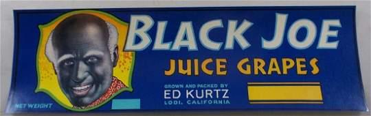 Black Joe Grape Crate Label 13 c1940s