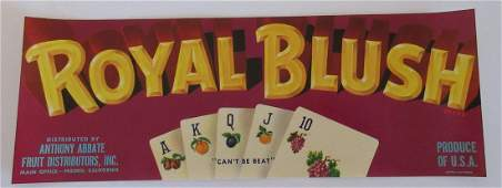 "Royal Blush Grape Crate Label. 11"".  Great image of a"